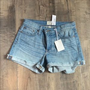 Jcrew as 25 mid rise denim shorts NWT